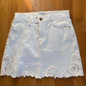 Frame White Denim Skirt